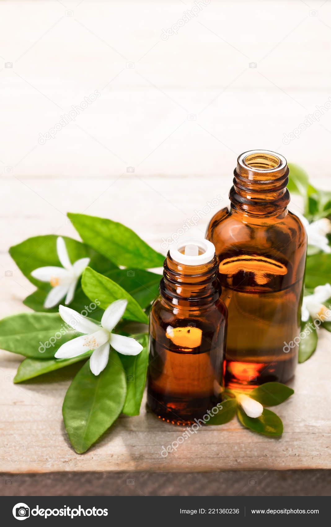 Neroli Essential Oil Brown Glass Bottle Fresh White Neroli Flower