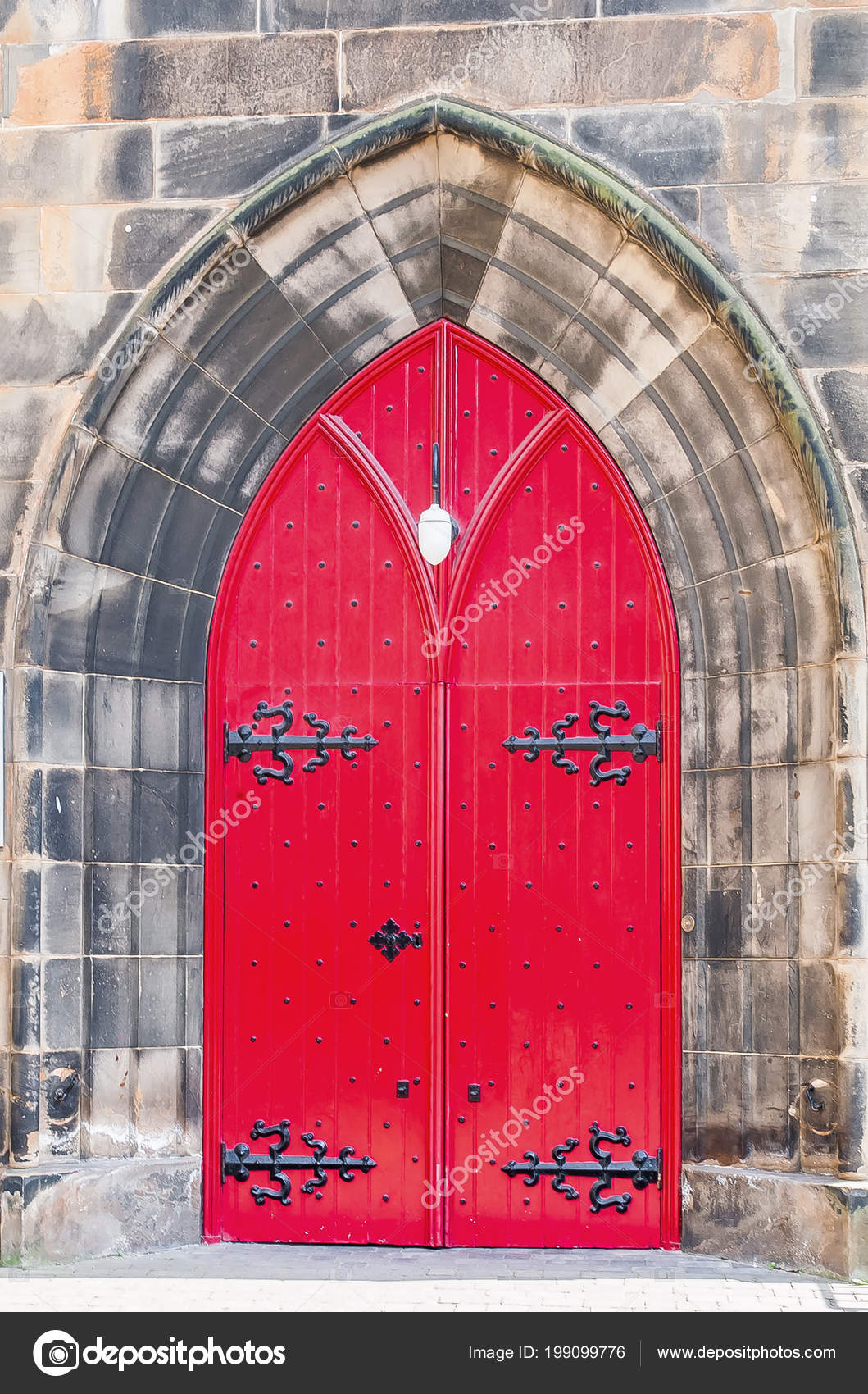 Red Door Old Church Scotland Stock Photo Romankrykhgmail
