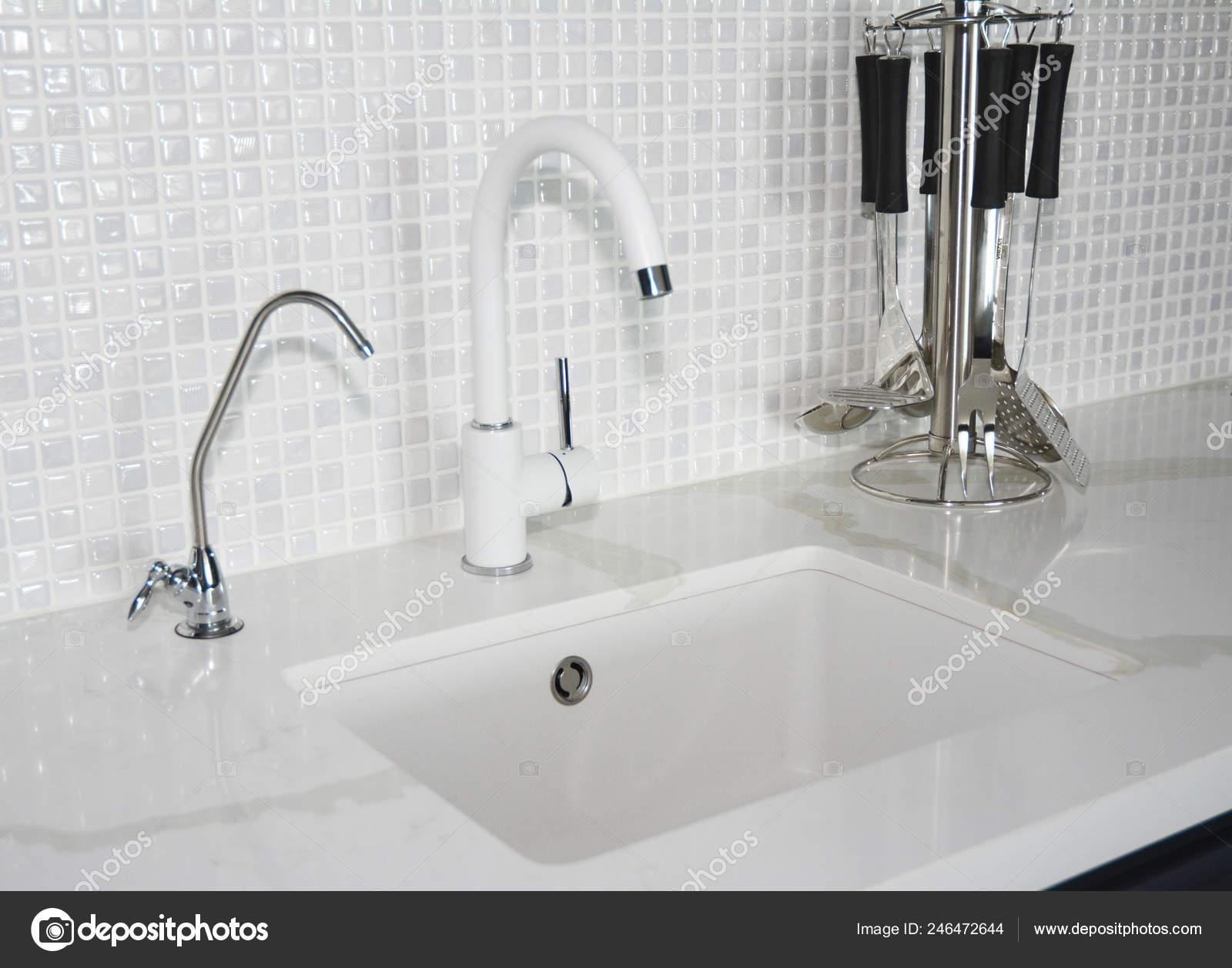 Modern Ceramic Kitchen Sink Modern Kitchen Chrome Faucet Mosaic