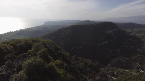 Nice landscape of green hill, Black Sea, long shorecost and valley with trees