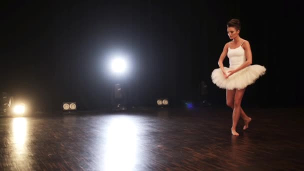 Attractive young ballerina nicely and airily dances ballet on big dark stage.