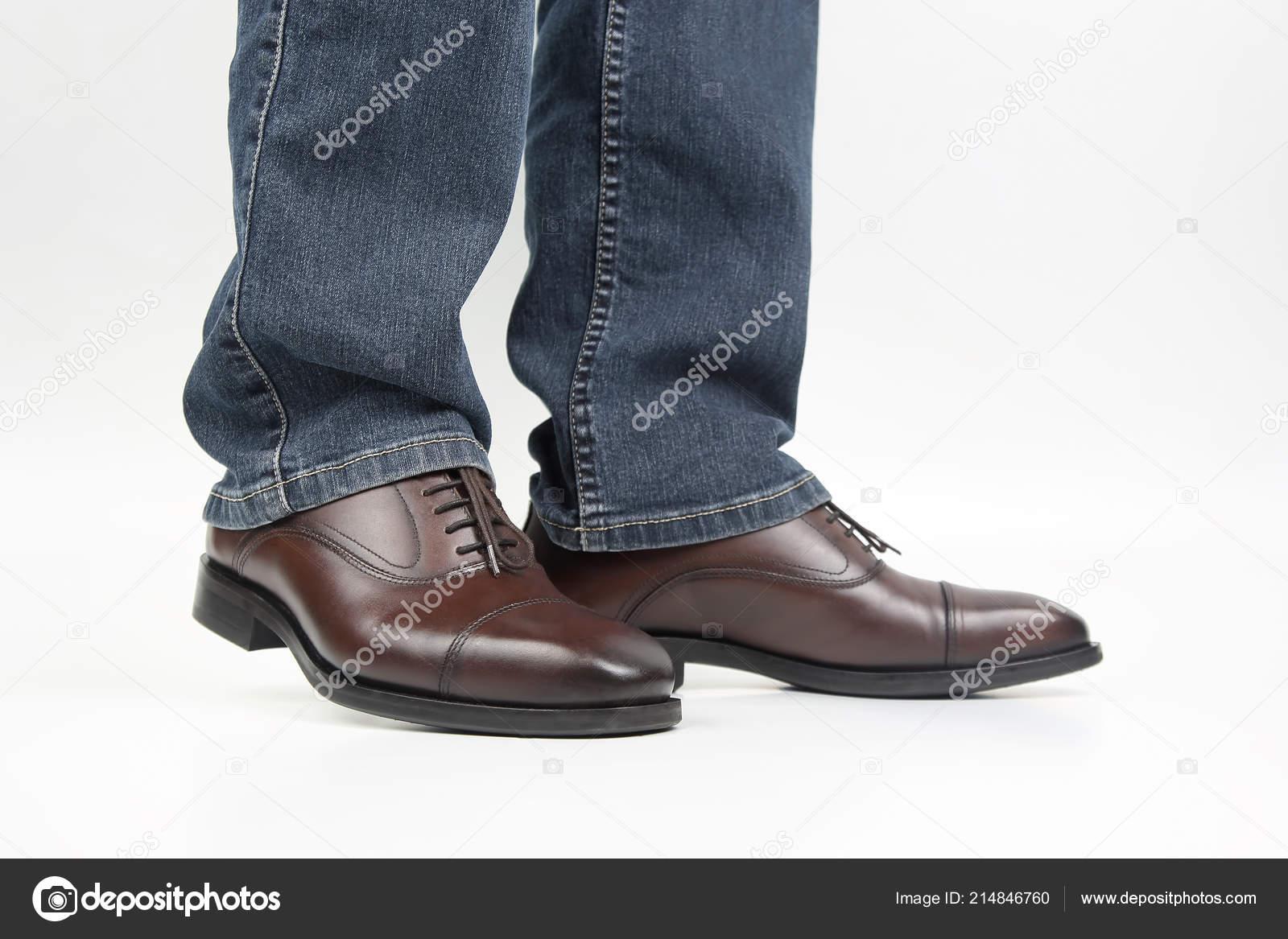 Marrón Los Zapatos Calzados Clásico Piernas Jeans Hombres Oxford ygvY7Ifb6