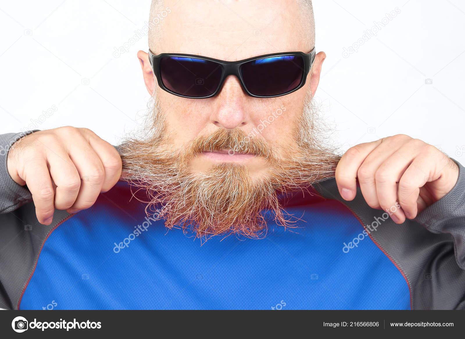 Noires Barbu Lunettes Homme Fond Chauve Portant Des Portrait Sur byf76Yg