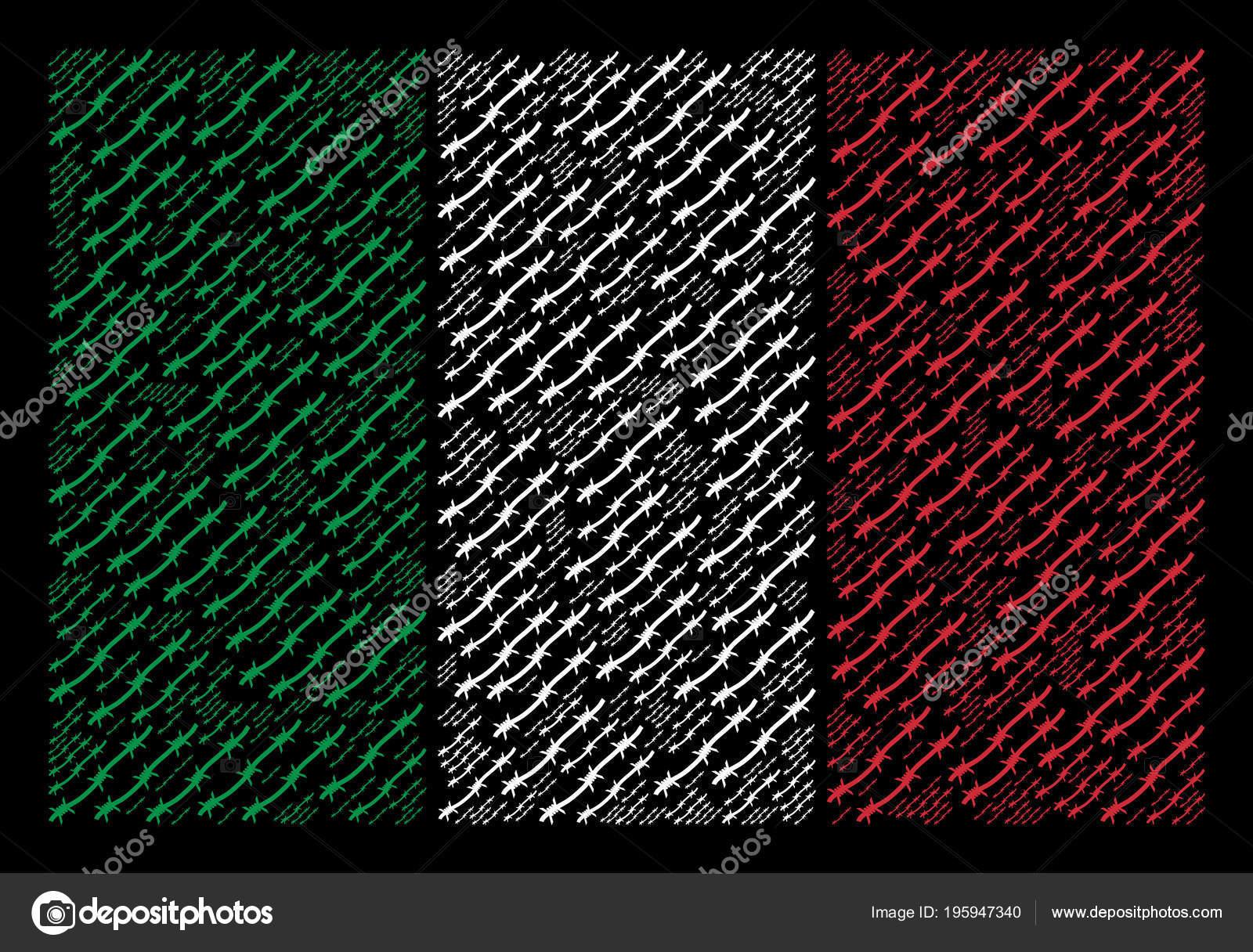Collage de la bandera italiana de artículos de alambre de púas ...