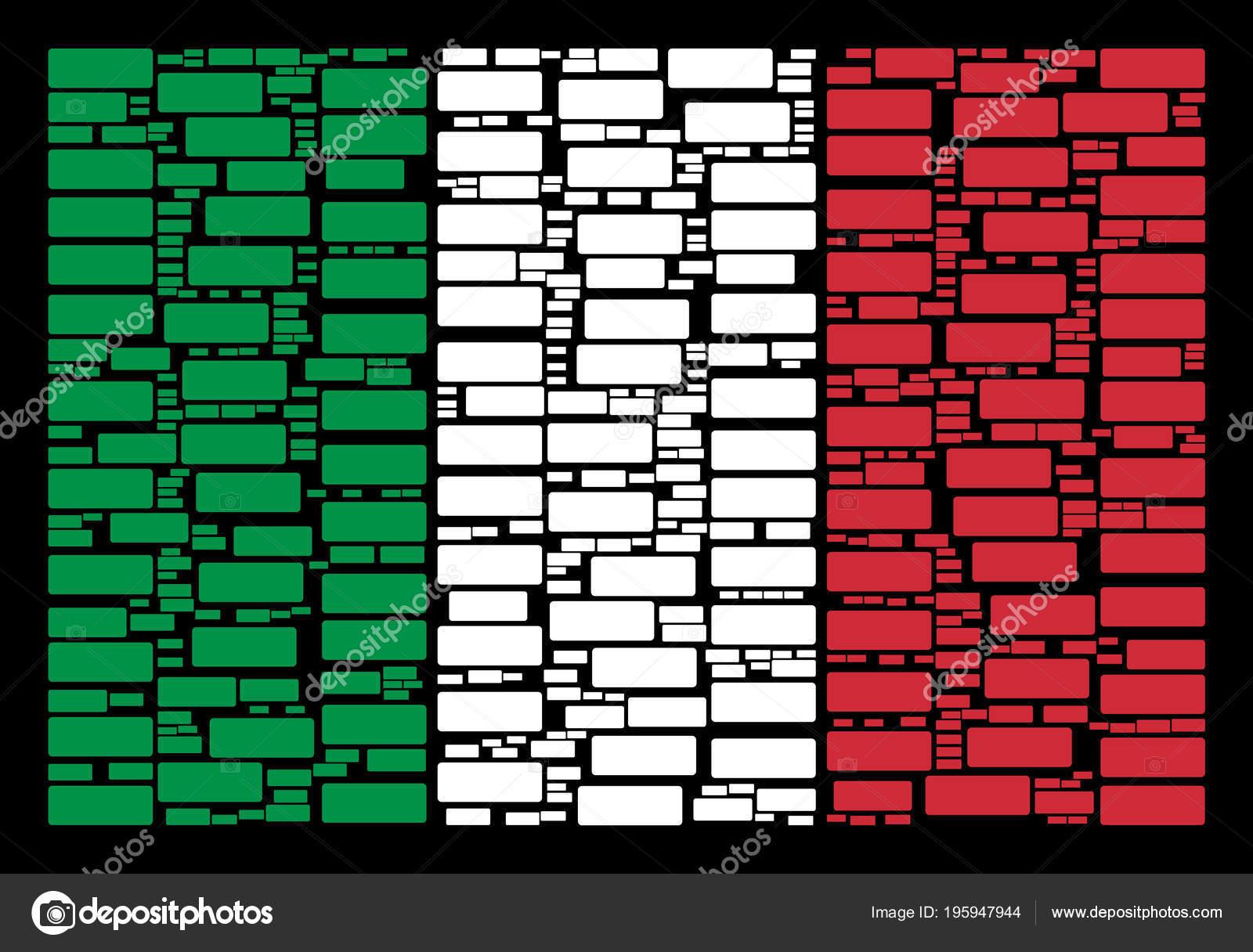 Italia bandera Collage de iconos de ladrillo del edificio — Vector ...