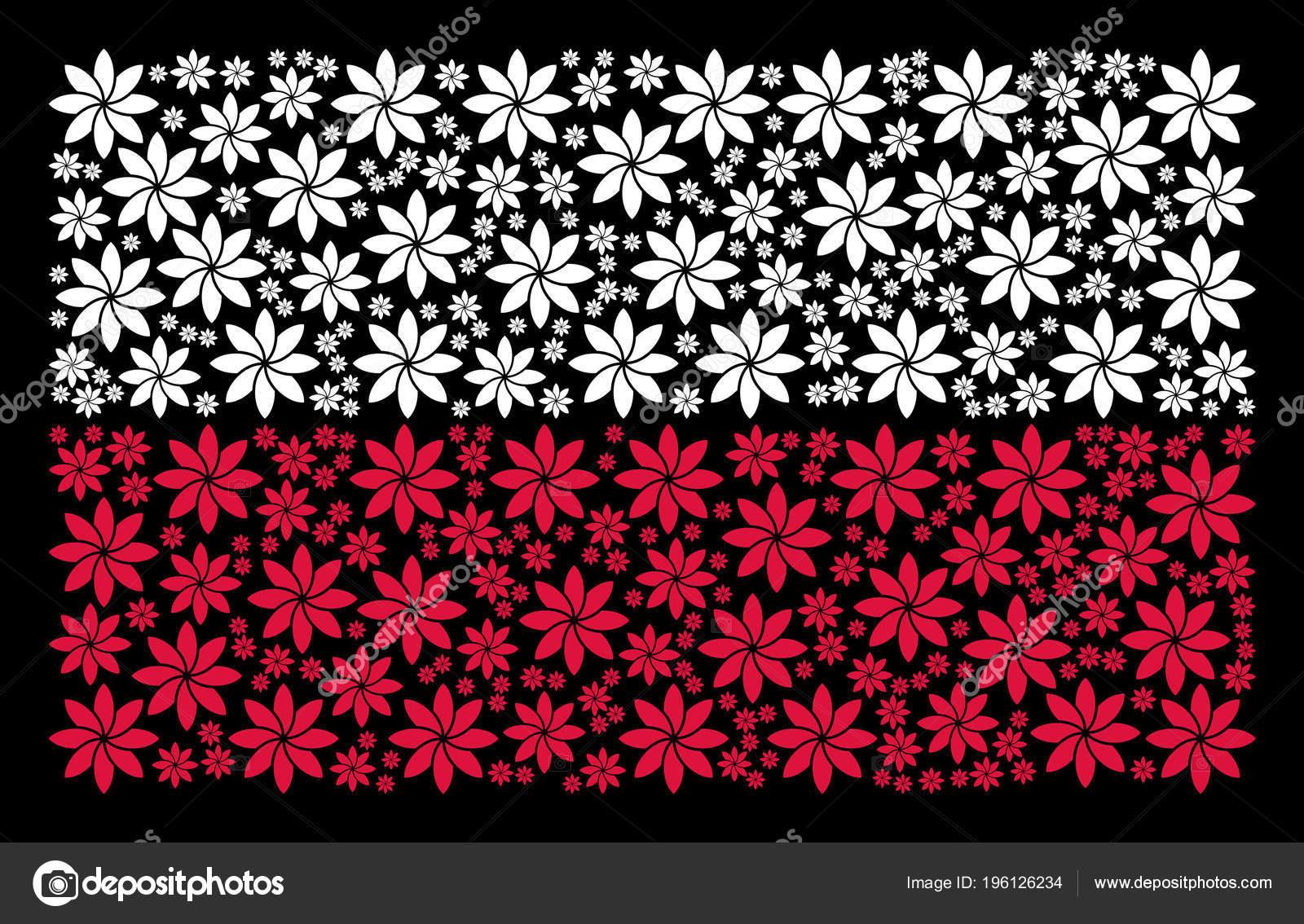 Polen Flagge Muster Abstrakt Blumen Icons Stockvektor