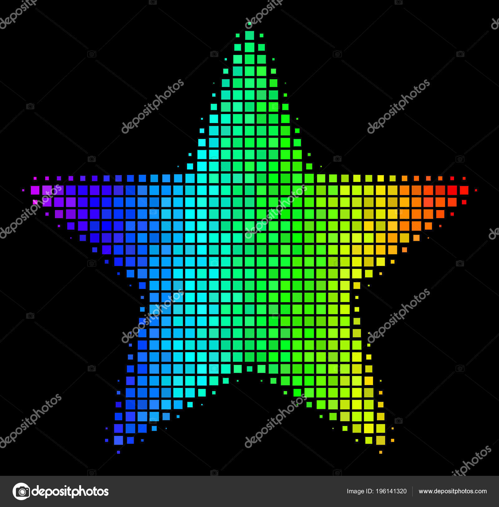 Arc En Ciel Pixel Fireworks Icône étoile Image Vectorielle