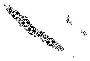 New Caledonia Islands Map Mosaic of Soccer Balls