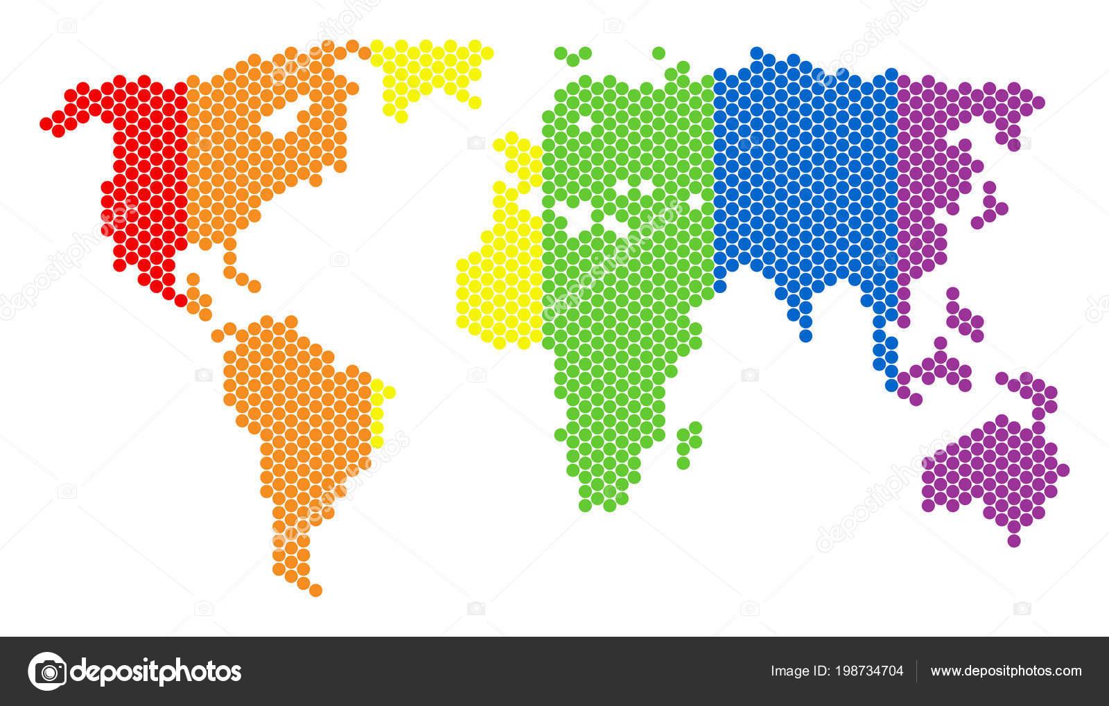 Carte Du Monde Lgbt Spectre Pixel Image Vectorielle