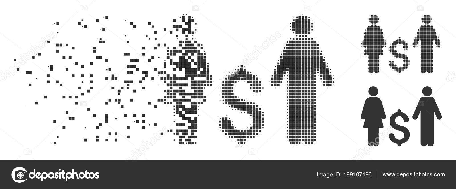 Family Dollar Decomposed Pixel Halftone Icon — Stock Vector ...