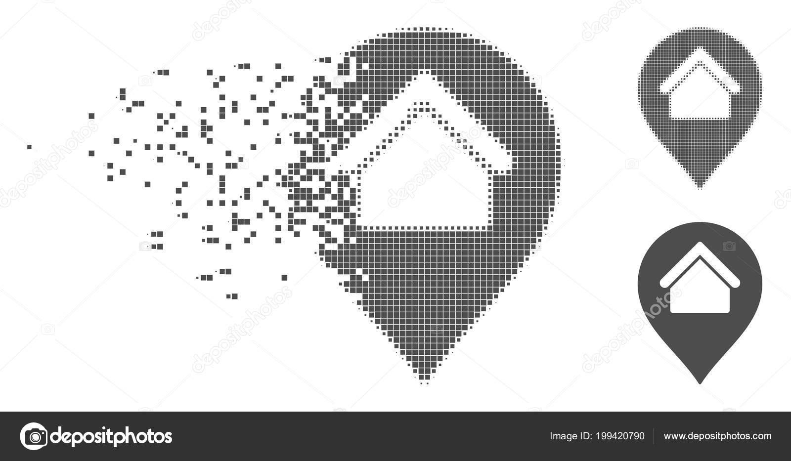 Icono de marcador disipada Pixel inicio de trama de semitonos ...
