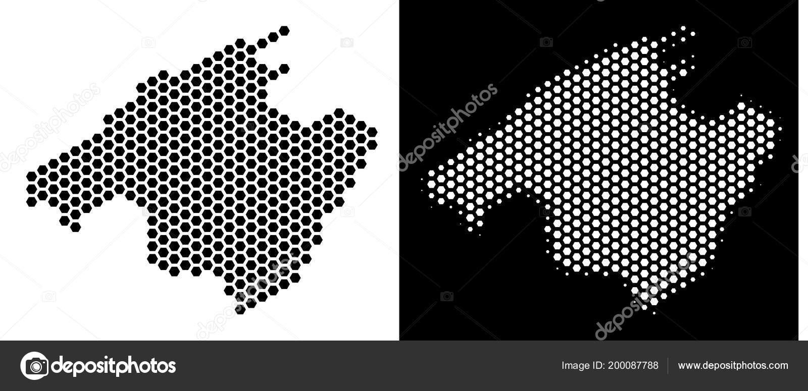 Spanien Karte Schwarz Weiß.Spanien Mallorca Insel Sechseck Schema Stockvektor Ahasoft