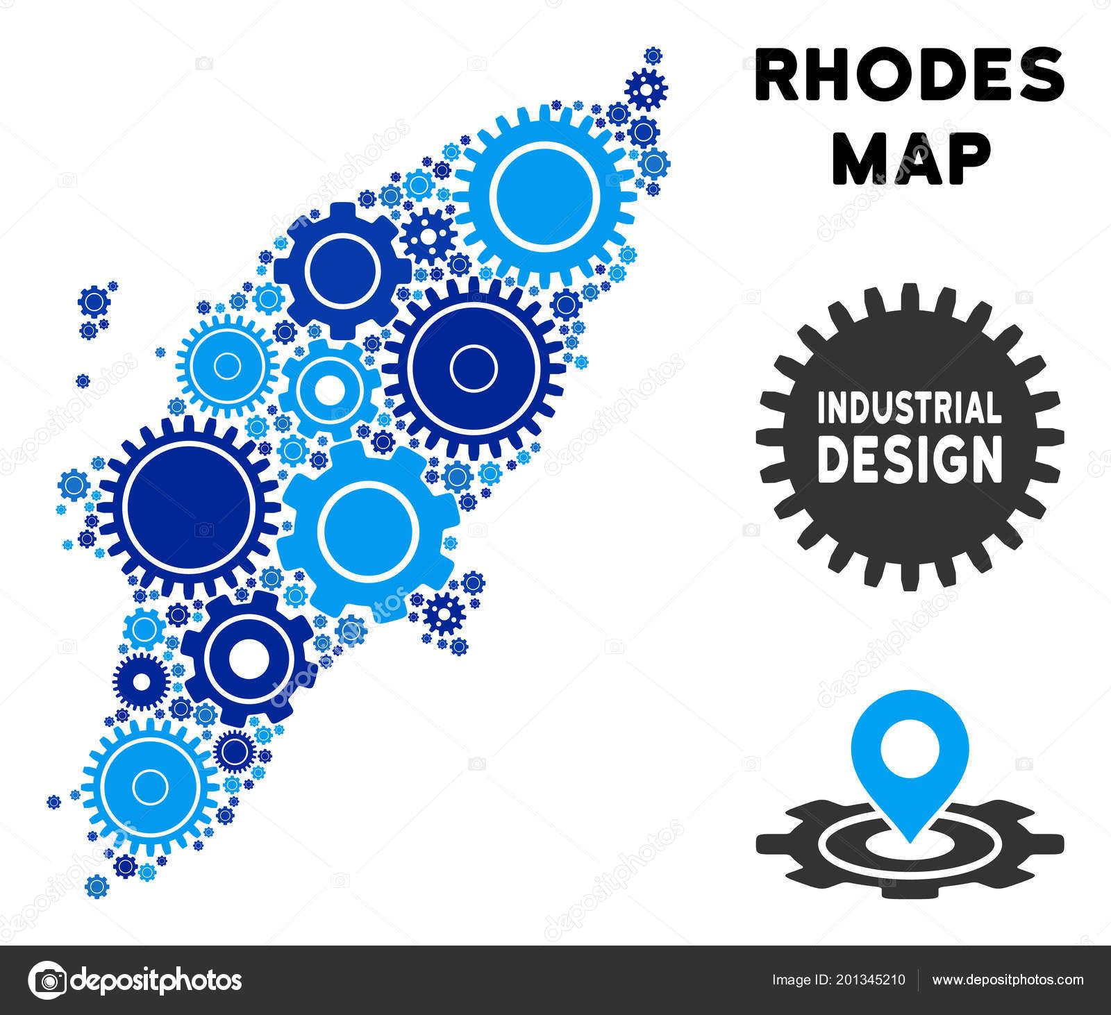Rhodos Karte.Zusammensetzung Der Griechischen Insel Rhodos Karte Von Zahnrädern