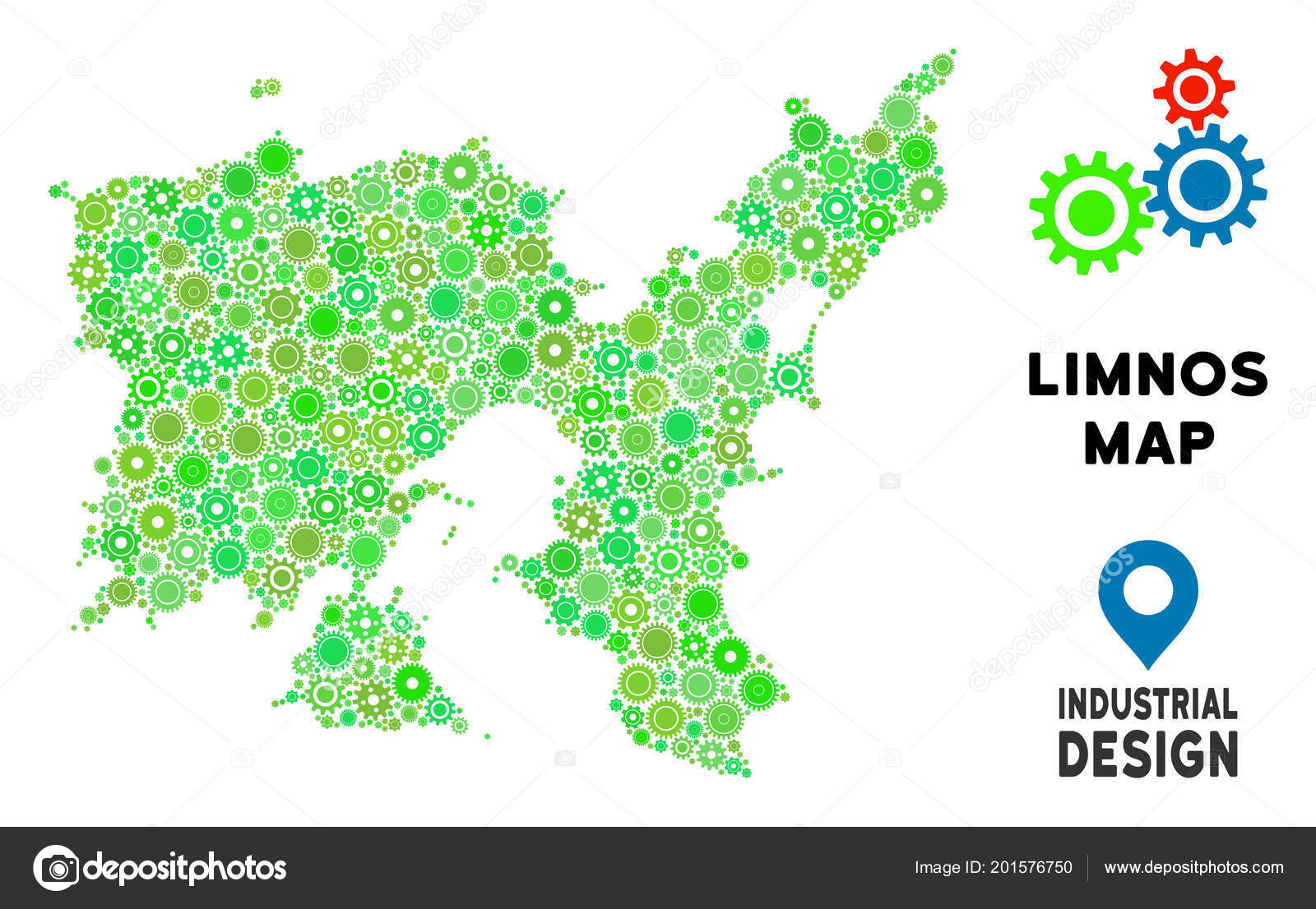 Gears Limnos Greek Island Map Mosaic Stock Vector C Ahasoft