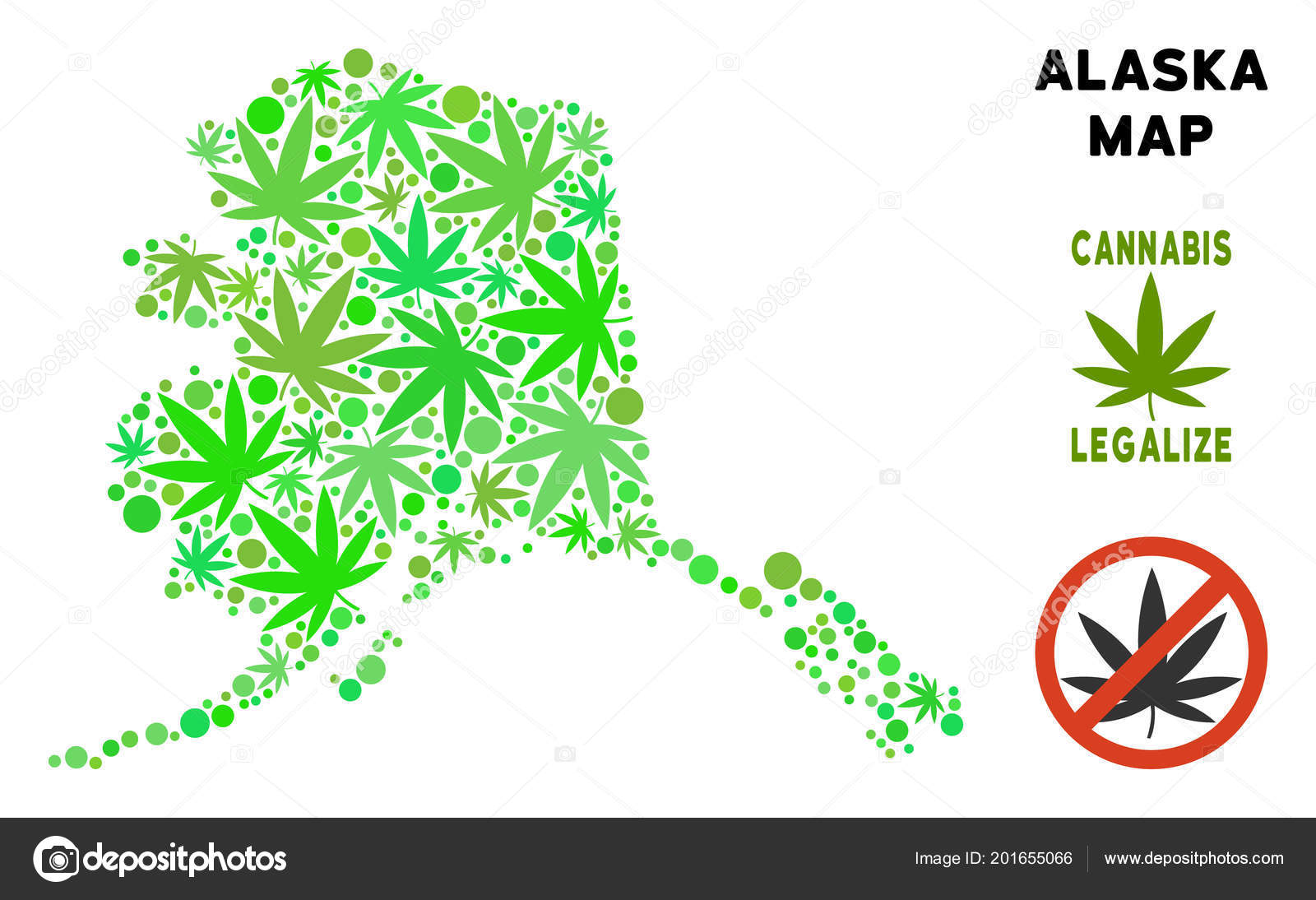 Royalty Free Cannabis Leaves Collage Alaska Map Stock Vector