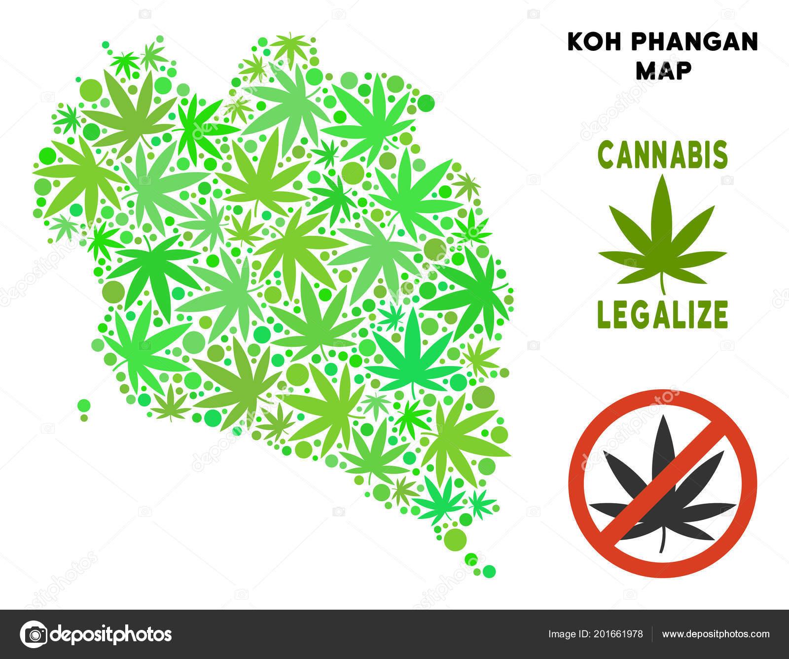 Koh Phangan Thailand Map.Royalty Free Cannabis Leaves Style Koh Phangan Thai Island Map