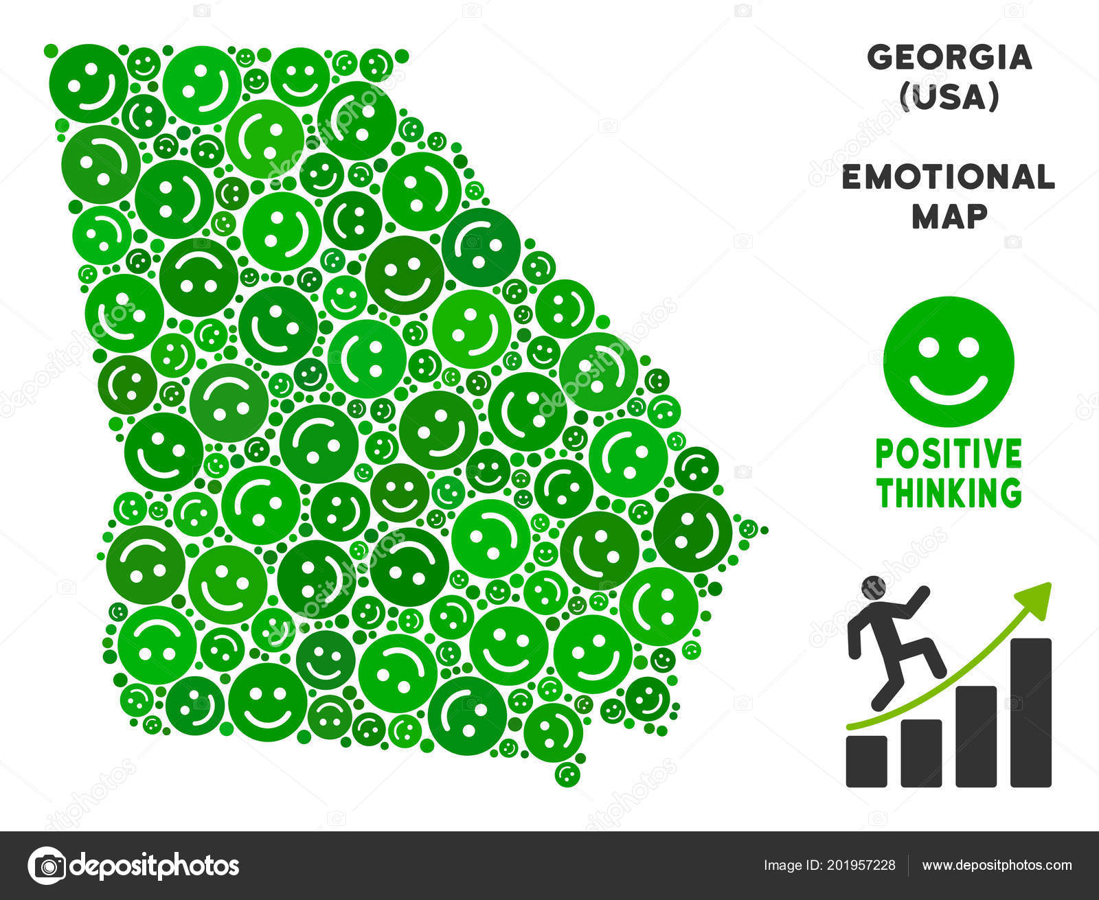 Vector Happiness American State Georgia Map Collage of ...