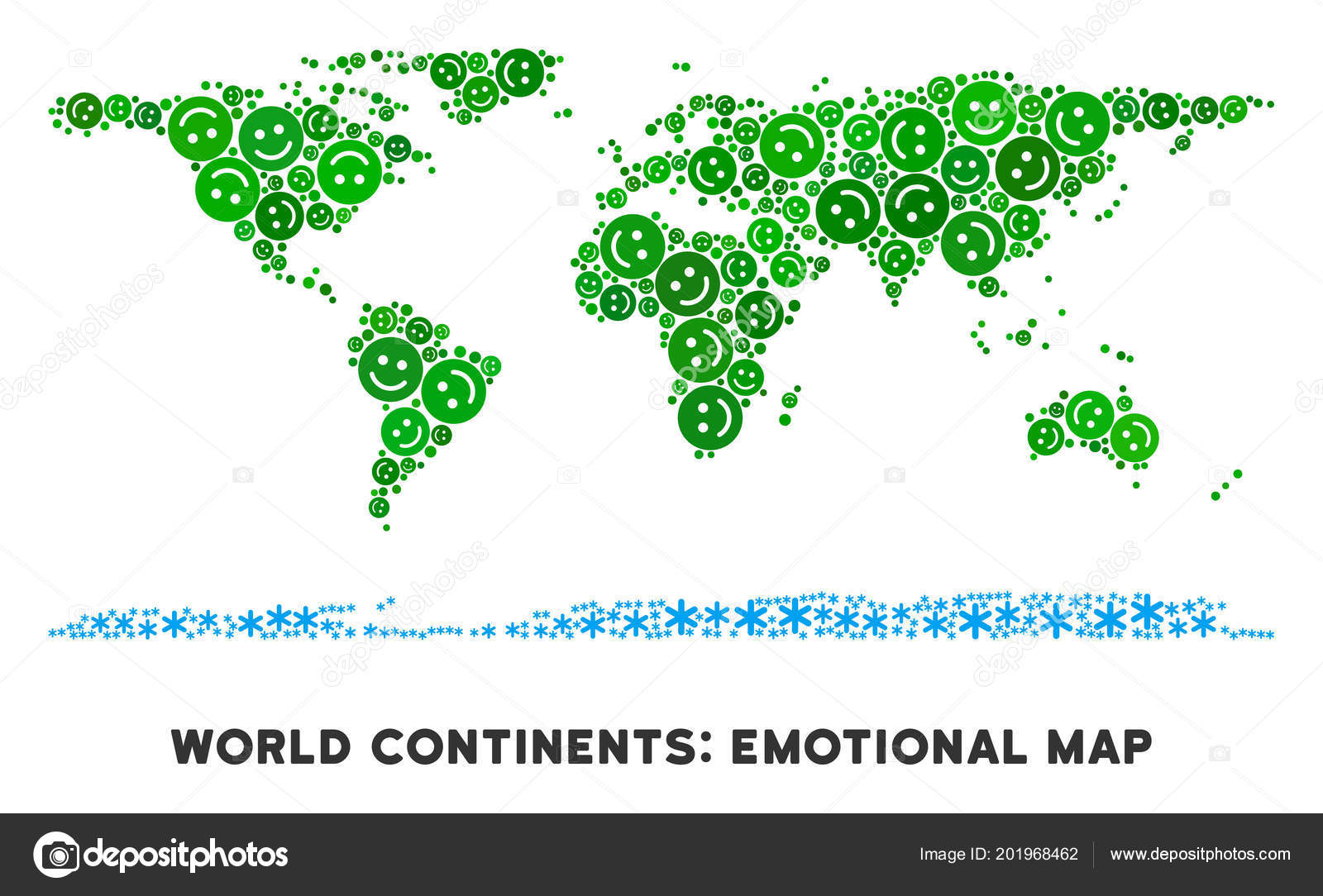 Vector Happiness World Continent Map Collage of Smiles — Stock ...
