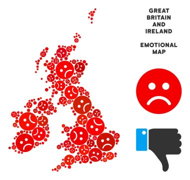 Vector Sadness Great Britain And Ireland Map Collage of Sad Emojis