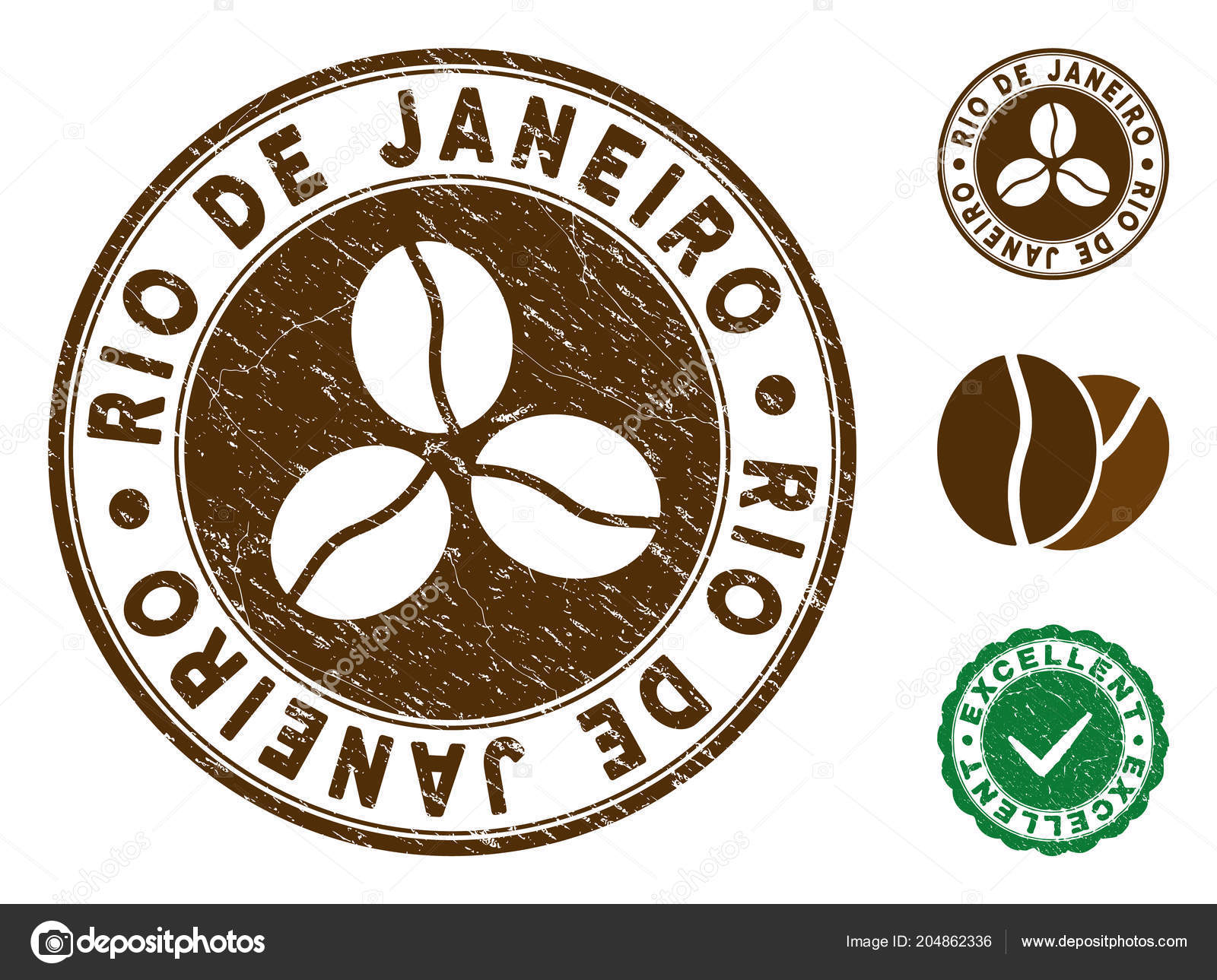Rio De Janeiro Brown Stamp Vector Seal Print Imitation With Grunge Surface And Coffee Color Round Rubber Design Of