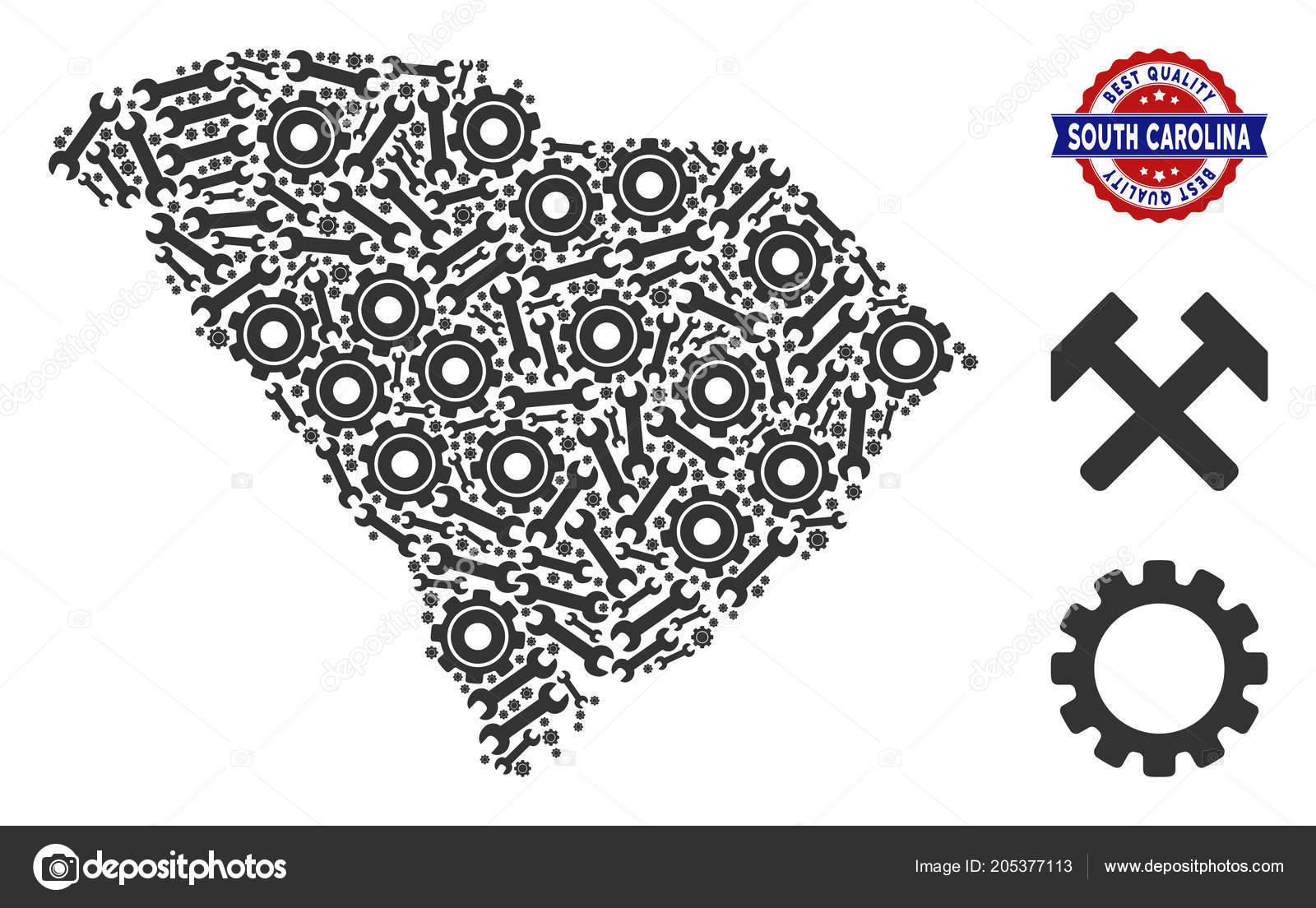 Mosaic South Carolina State Map of Service Tools — Stock Vector ...