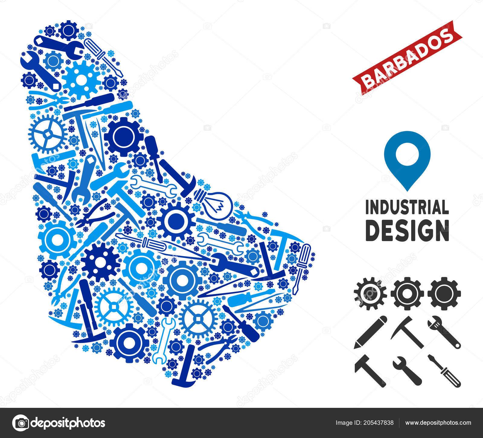 industrial barbados map collage vetores de stock ahasoft 205437838