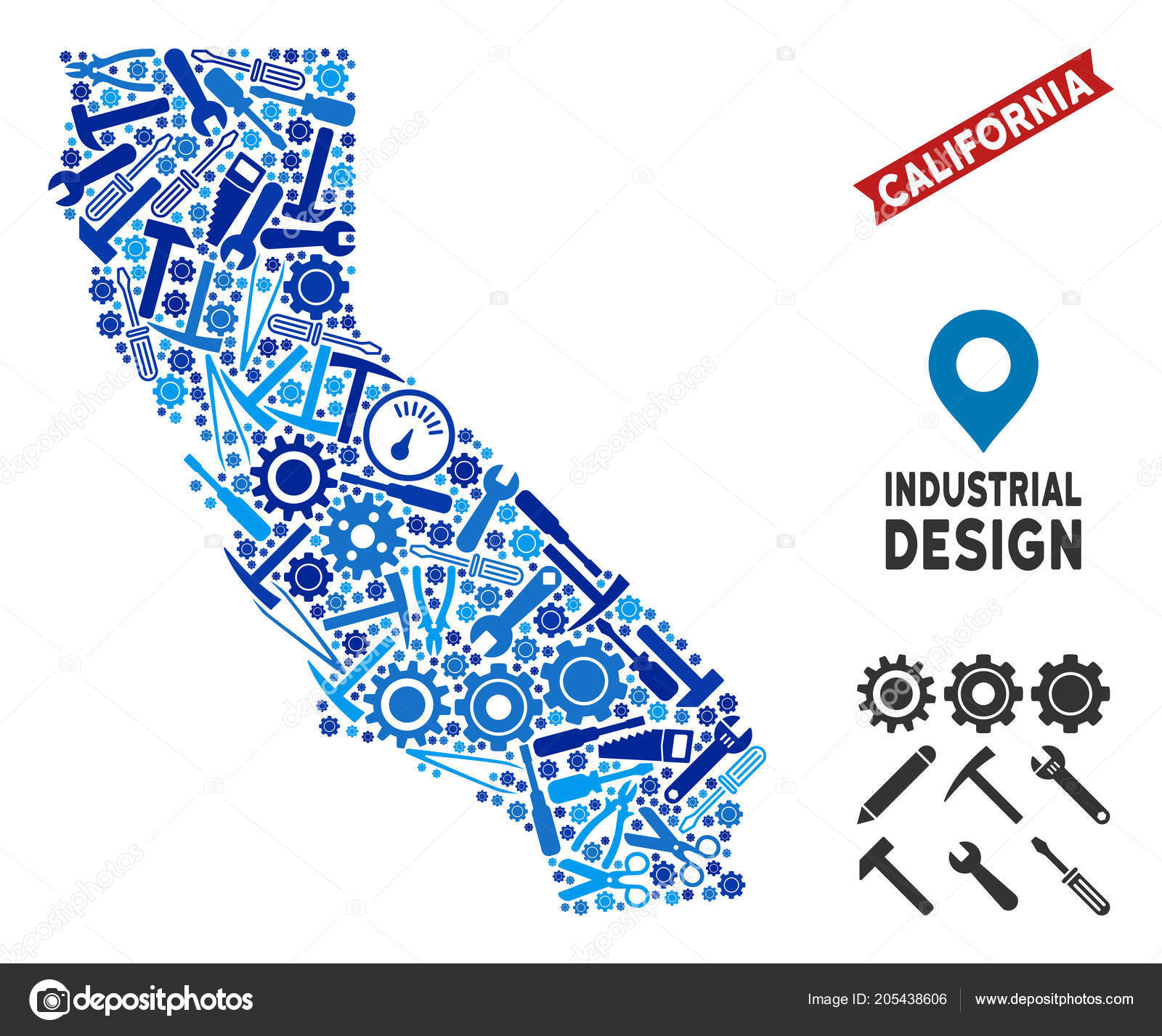 California Map Vector on