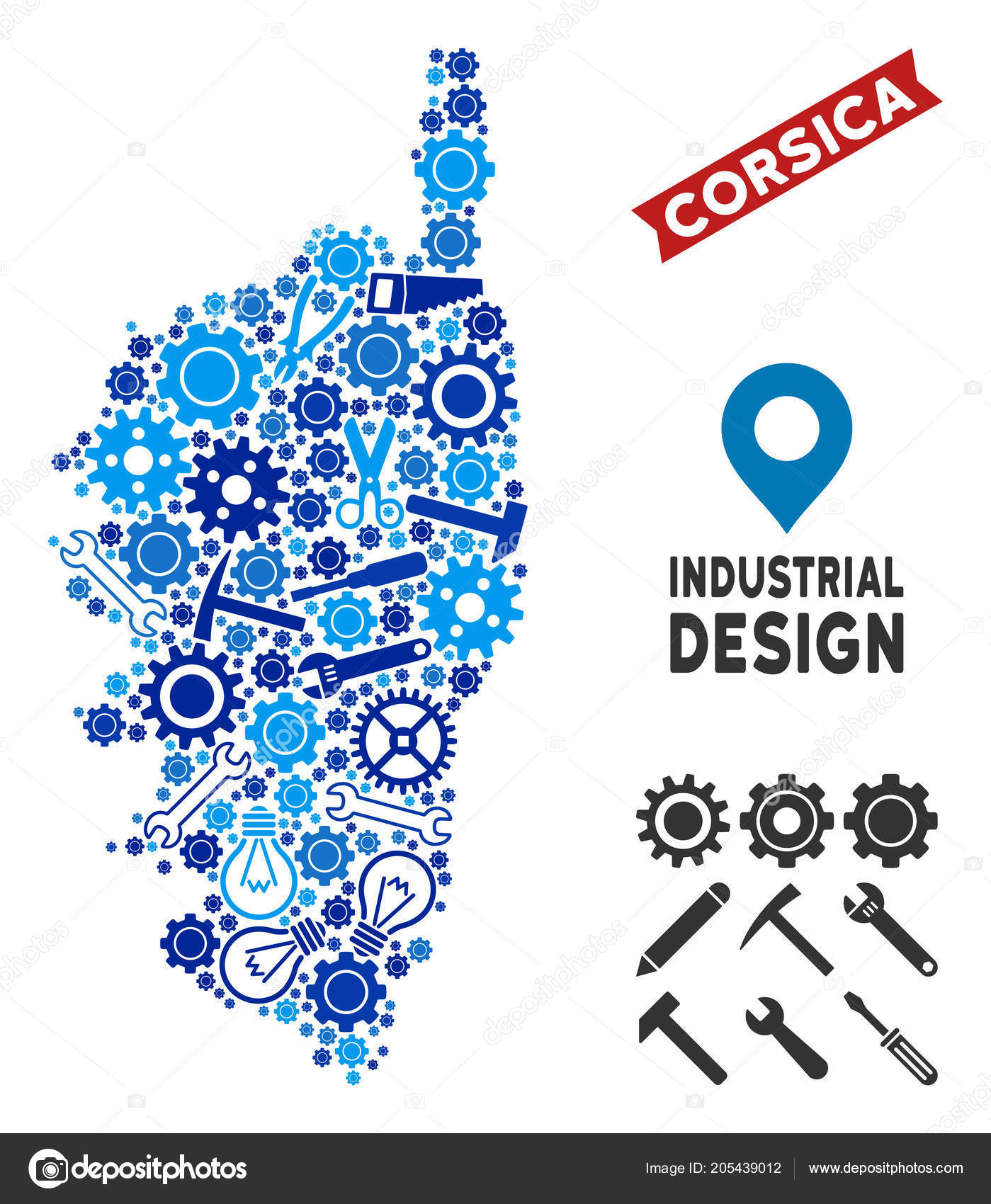 Industrial Corsica France Island Map Mosaic Stock Vector C Ahasoft