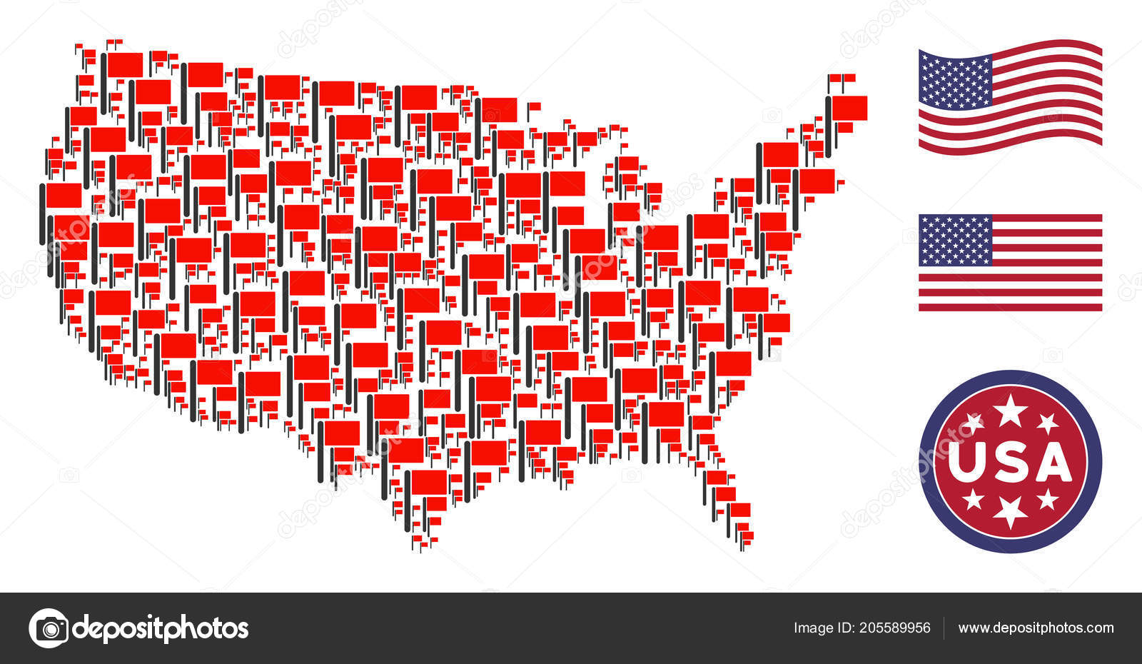 United States Map Mosaic of Flag — Stock Vector © ahasoft #205589956