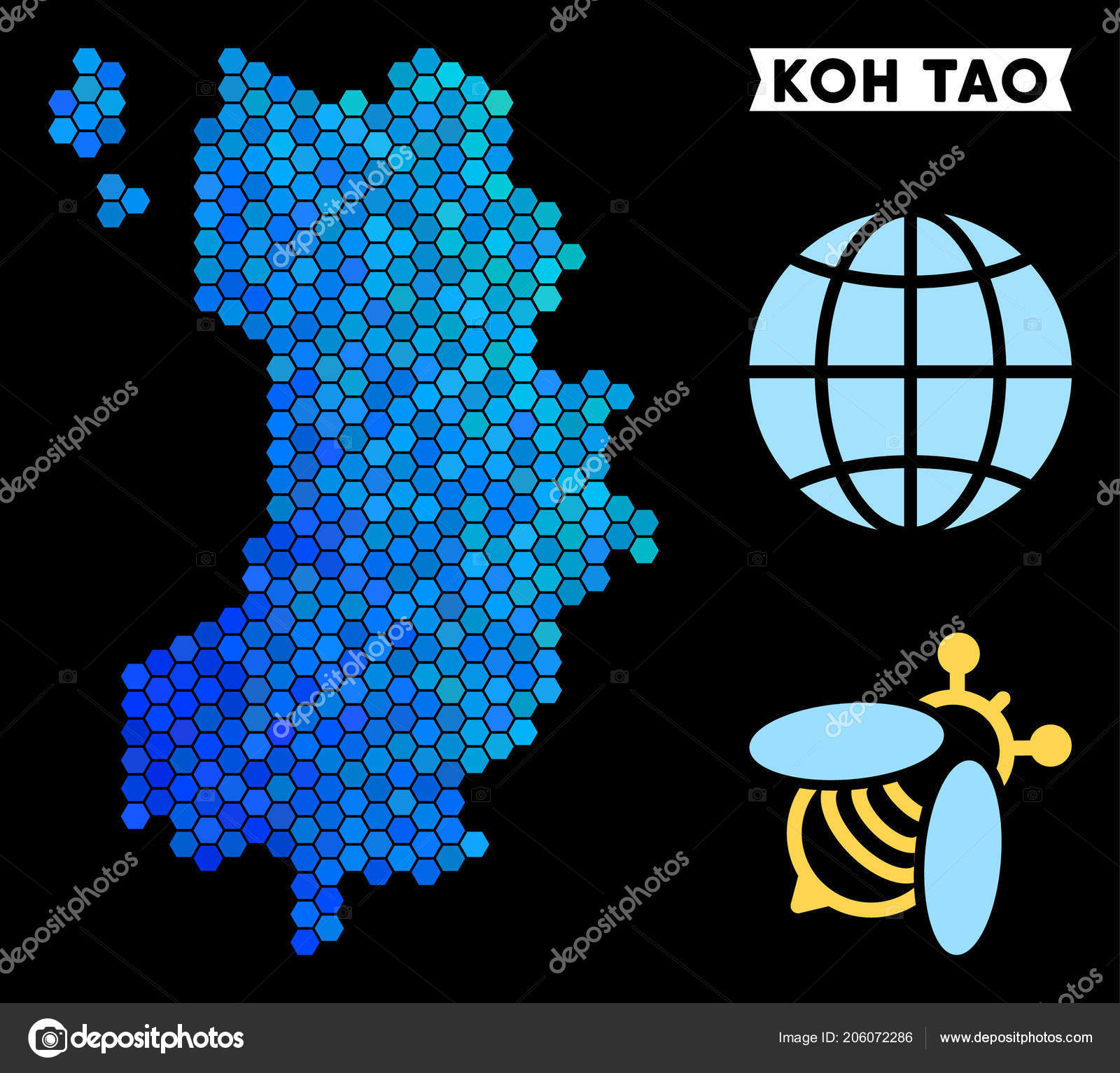 Blue Hexagon Koh Tao Thai Island Map Stock Vector C Ahasoft 206072286