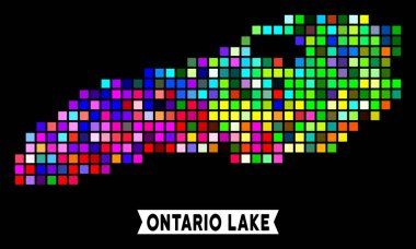 Colored Pixel Ontario Lake Map