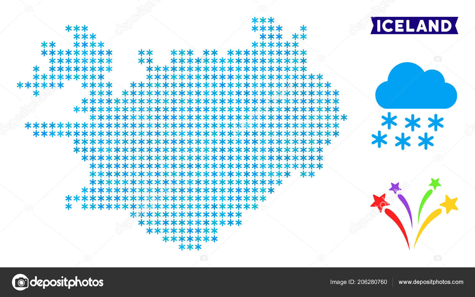 Icy Iceland Map — Stock Vector © ahasoft #206280760