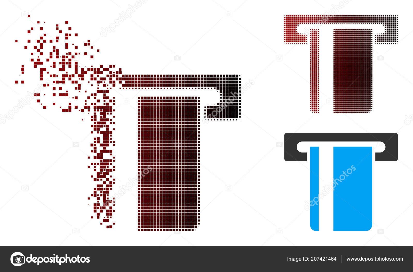 Icono de Terminal Atm semitono Pixel dañados — Vector de stock