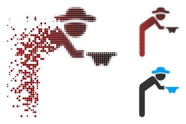 Fragmented Pixel Halftone Gentleman Beggar Icon