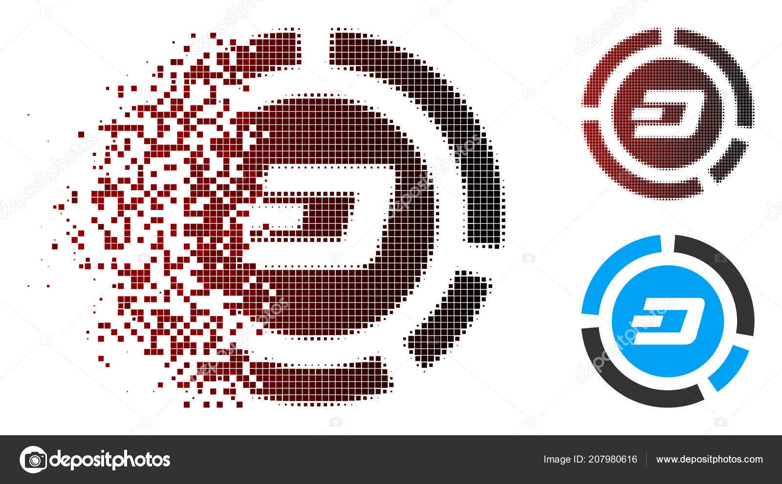 Dissolving Pixel Halftone Dash Pie Chart Icon — Stock Vector
