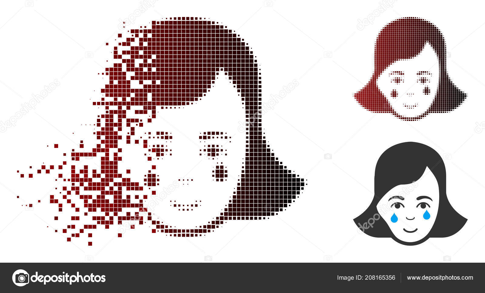 Demi Teinte Pixel Décomposé Pleurer Icône Visage Femme