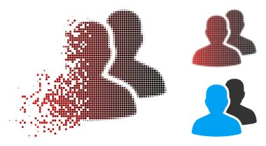 Disintegrating Dot Halftone User Accounts Icon with Face