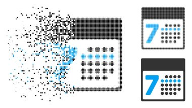 Dispersed Dotted Halftone Calendar Week Icon