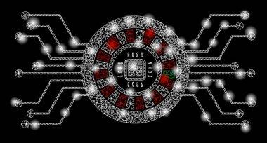 Bright Mesh Network Digital Casino Circuit with Light Spots