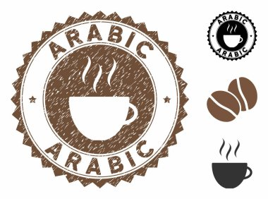 Grunge Textured Arabic Stamp Seal with Coffee Cup
