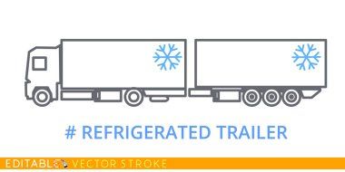 Refrigerated trailer icon. Editable stroke sketch icon. Stock vector illustration.