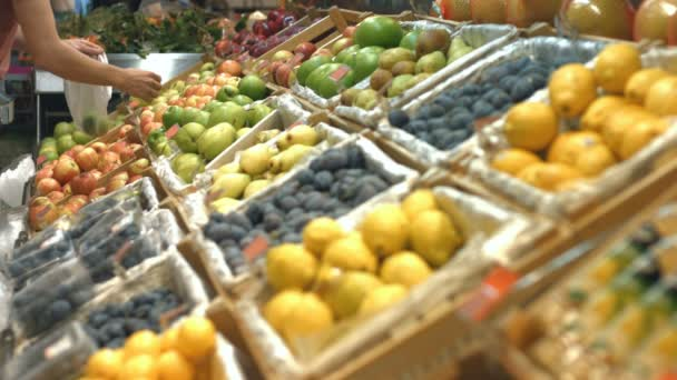 Ovoce police v obchodě s potravinami. Ruce si jablka, hrušky a švestky z ovoce police a dát je do sáčku. Obrovský výběr ovoce jsou na polici