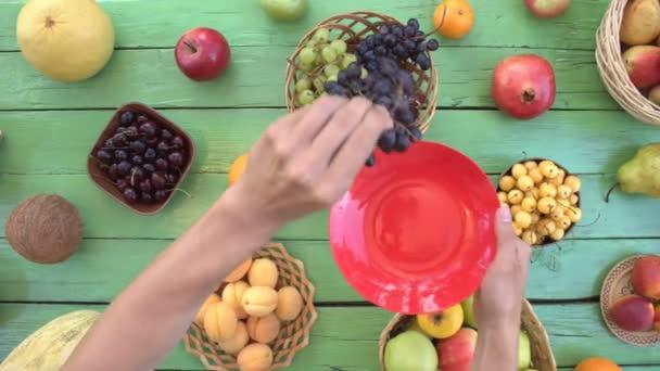 Gyümölcsök, zöld ökológiai háttér. Felülnézet. Zöld fa öko háttér különböző gyümölcsök találhatók. Férfi kezét fog a gyümölcs, és tedd a piros lapot. Íme: szőlő, őszibarack, szilva, kivi, körte, kókusz, banán, sárgadinnye, szilva