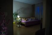 Alvó nő. Egy nő a kanapén alszik egy szobában..