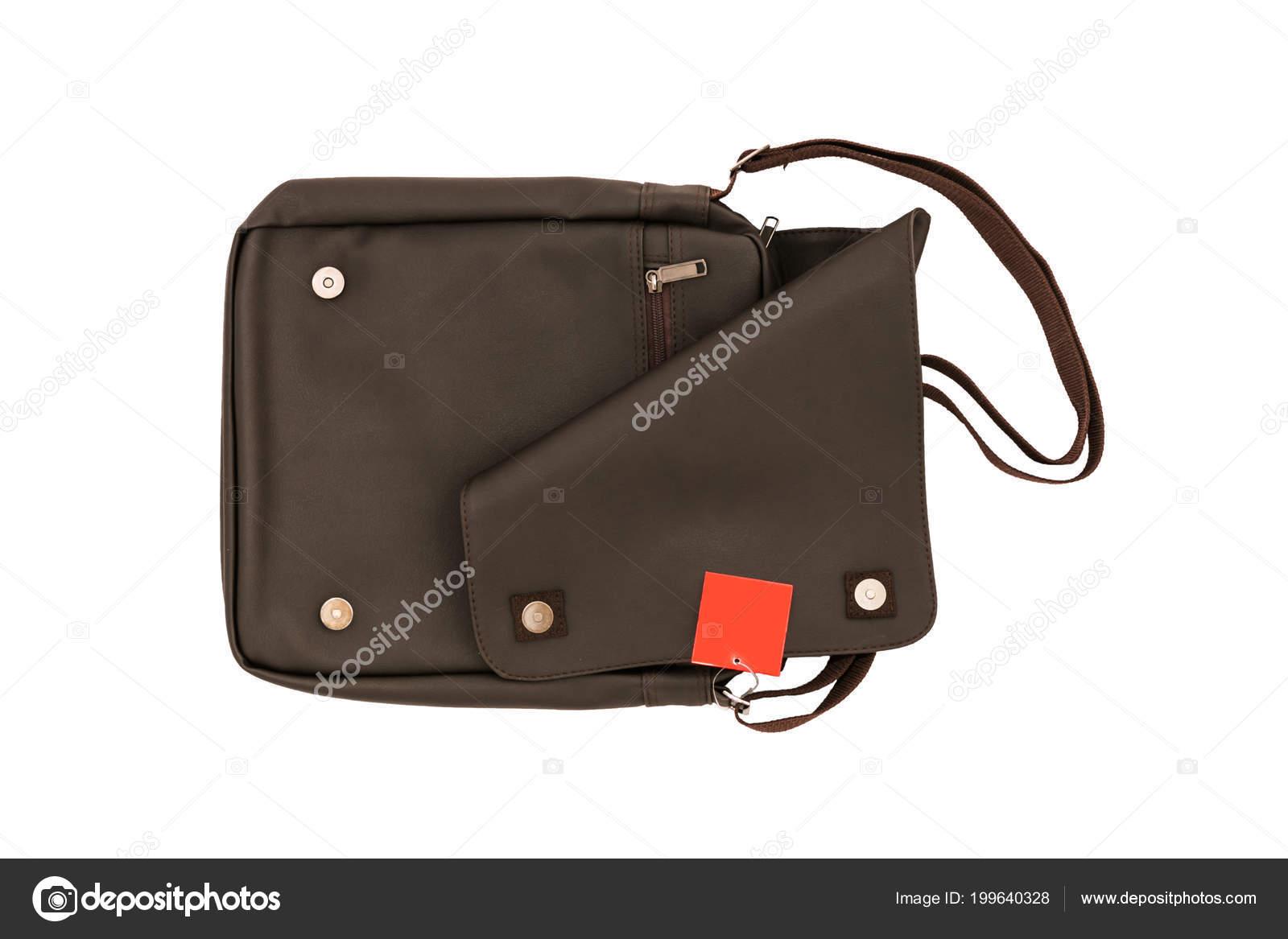 vida de de etiqueta blanco Bolso y fondo de de cuero cuero marrón sobre para Concepto con hombre moda bolso estilo bandolera precio o pequeño aislado Bq1Pdqw