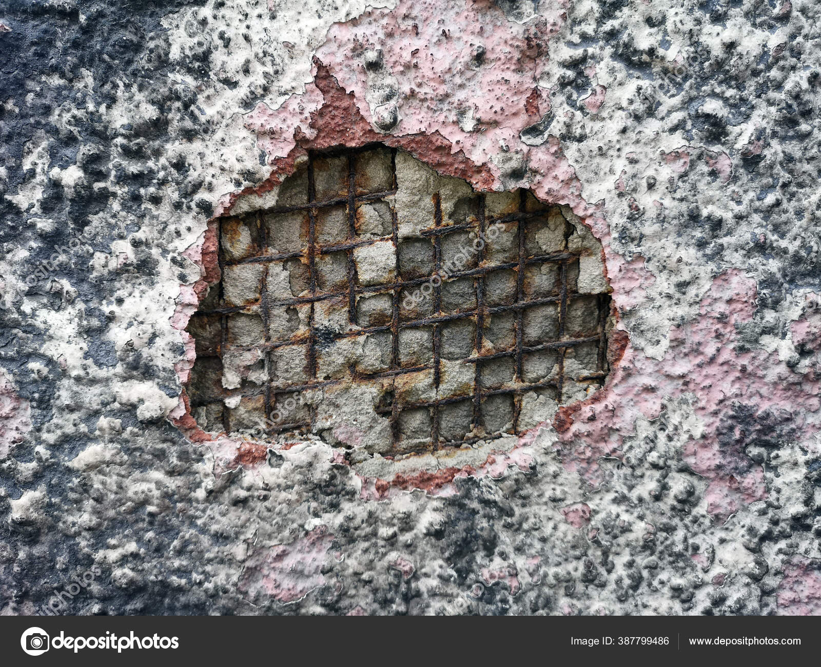 Background Texture Iron Rusted Fittings Breakaway Concrete Wall Plaster Iron Stock Photo C 977 Rex 977 387799486