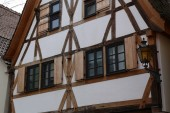 Tudor style house. Facades of houses in the old style.