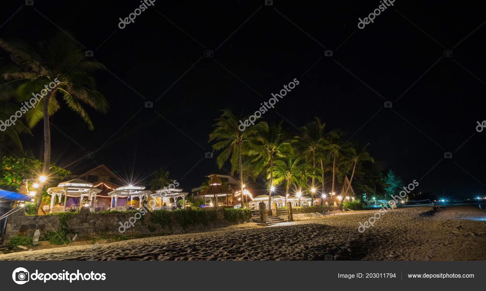 Tropical Beach Resort Night Stock Photo Domonite 203011794