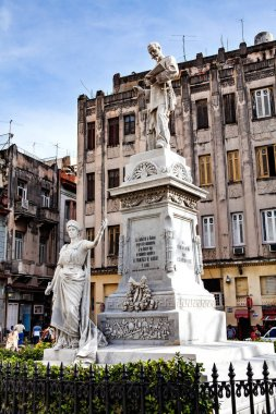 Havana, Cuba - December 12, 2016:  Statue of Francisco de Albear by Jose Vilalta Saavedra in Old Havana, Cuba