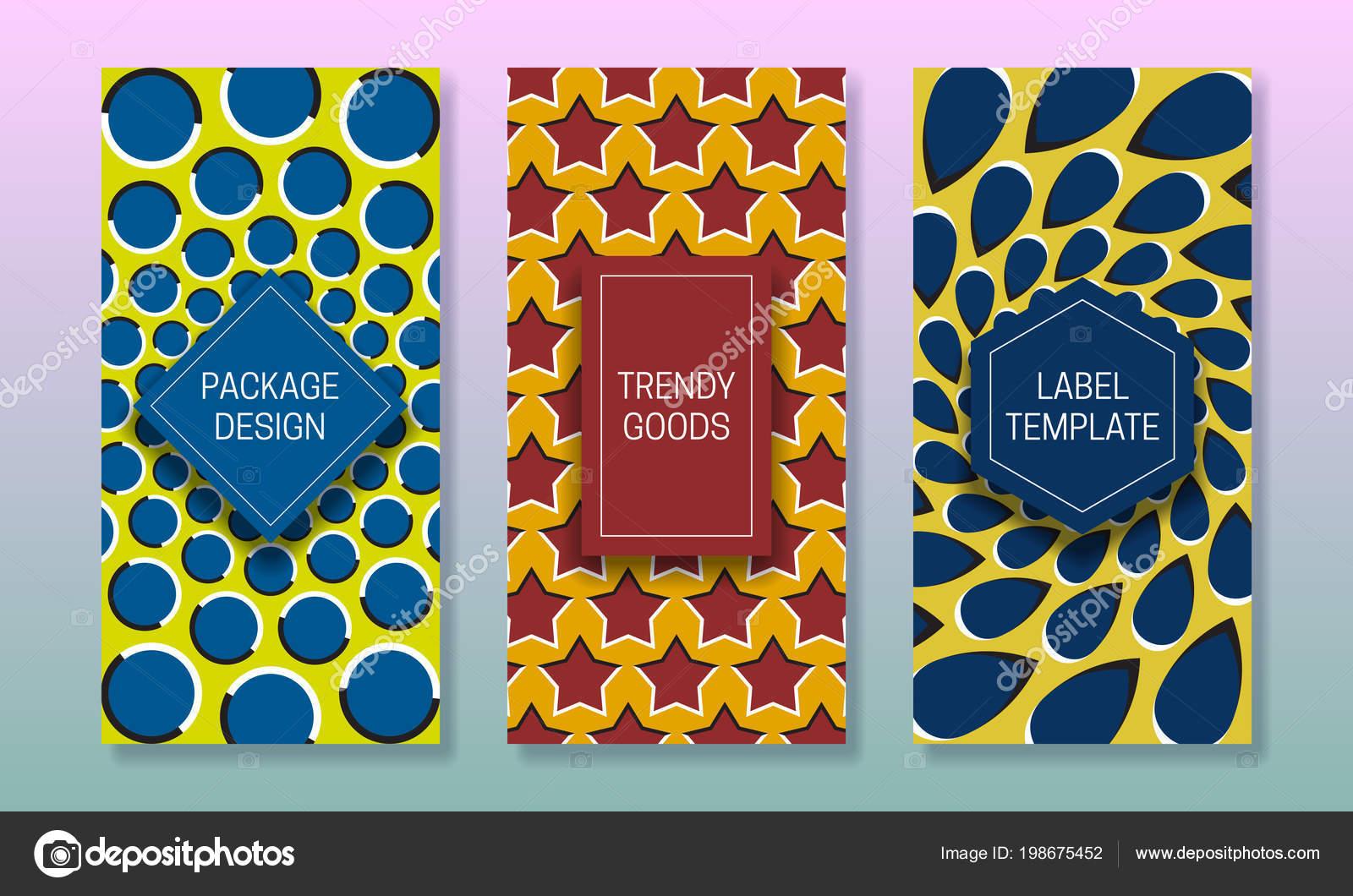 Diseño Packaging Ilusión Óptica Conjunto Plantillas Etiquetas ...